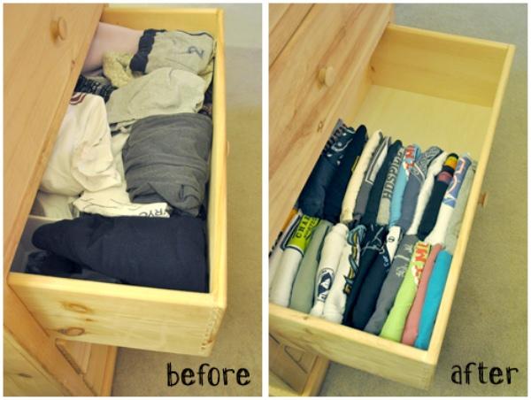 Ułóż koszulki pionowo w szufladzie, będziesz miał do nich łatwiejszy dostęp.