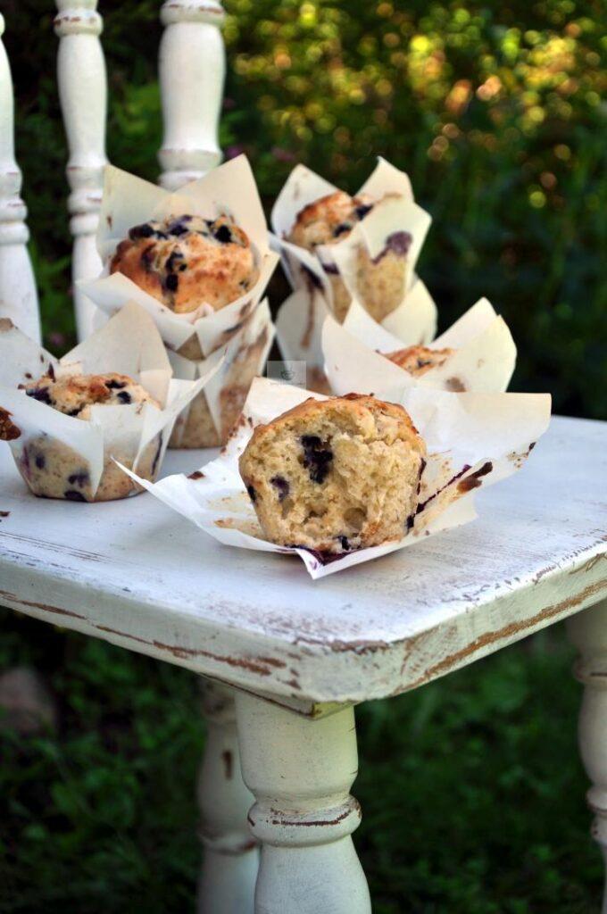 Muffiny Orkiszowe z Jagodami